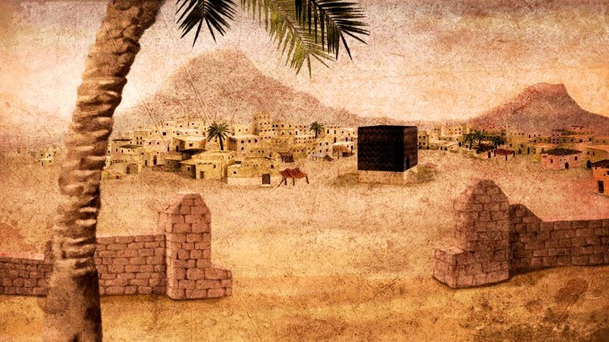 A depiction of the old city of Makkah